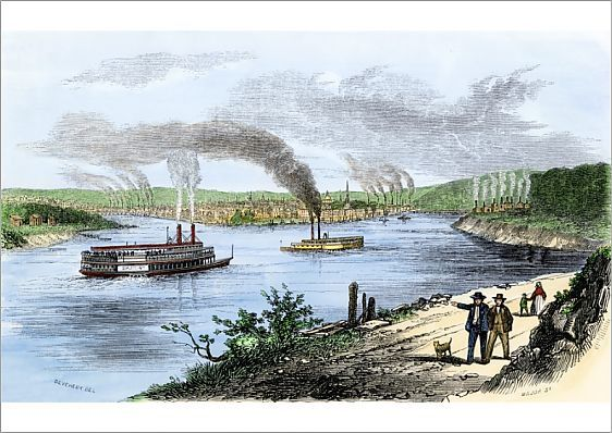 Riverboats approaching Pittsburgh, 1850s